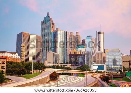 Downtown Atlanta, Georgia at the sunset time