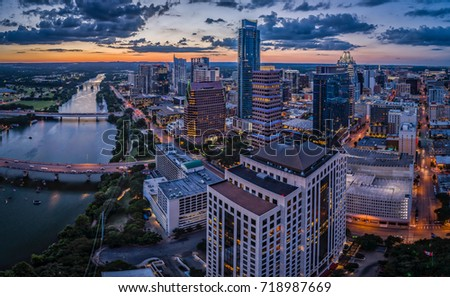 Downtown Austin, Texas during sunset.