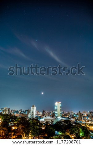 Downtown Belo Horizonte during a night of clear skies and waning moon. Minas Gerais Brazil. #1177208701