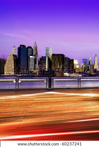Downtown Brooklyn skyline in New York City at night