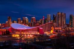 Downtown Calgary skyline glowing at night