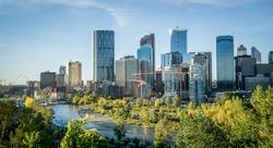 Downtown Calgary skyline on a summer morning, Alberta, Canada