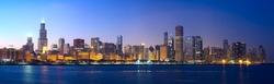 Downtown Chicago across Lake Michigan at sunset, IL, USA