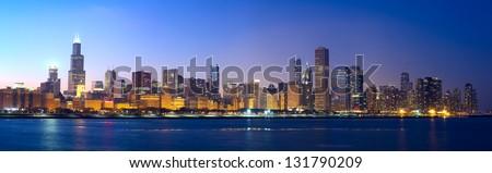Stock Photo Downtown Chicago across Lake Michigan at sunset, IL, USA