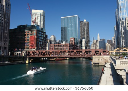 Downtown Chicago at sunny day, IL, USA
