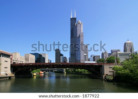 Downtown Chicago, Illinois from Chicago River tour. (3105)