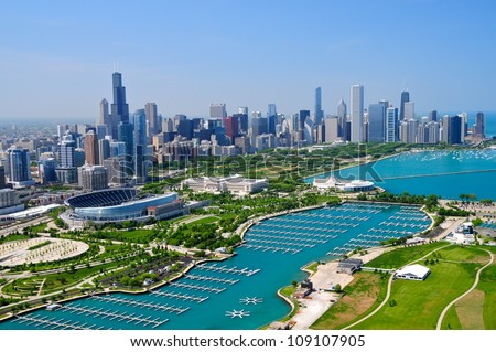 Stock Photo Downtown Chicago & Lake Michigan