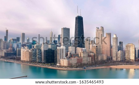 Downtown Chicago Skyscrapers Aerial North Side Morning Sky stock photo