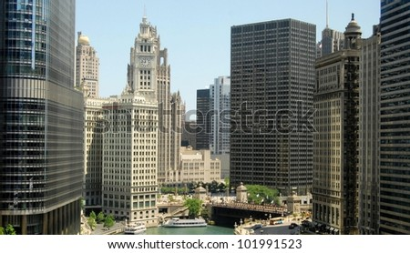 Downtown Chicago Waterfront and High Rise Buildings, Illinois USA
