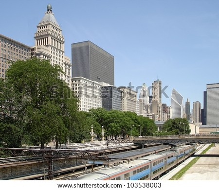 Downtown Chicago with a downtown train station to transport thousands of commuters every day.