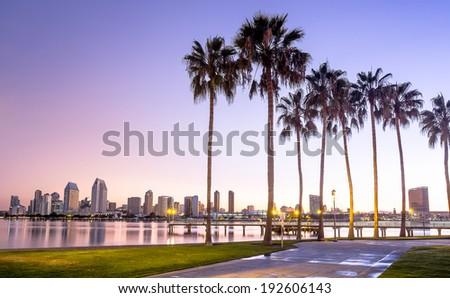 Downtown City of San Diego, California USA at Dawn