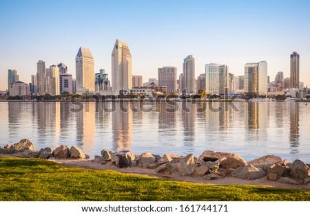 Downtown City of San Diego, California USA, Dawn Sunrise