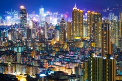Downtown cityscape in Hong Kong