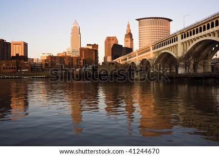 Downtown Cleveland, Ohio at sunset.