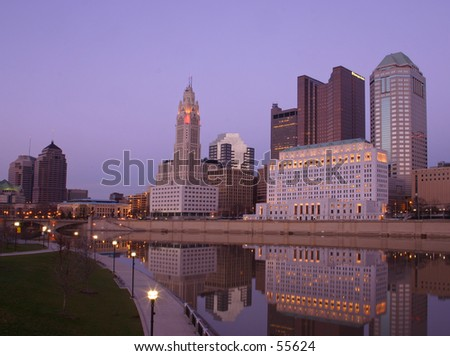 Downtown Columbus skyline at twilight