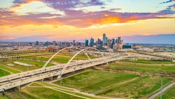 Downtown Dallas, Texas, USA Drone Skyline Aerial Panorama
