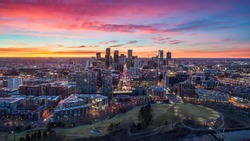 Downtown Denver, Colorado, USA Drone Skyline Aerial Panorama.