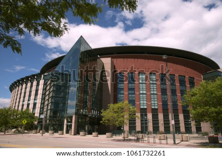 Pepsi Center view from the downtown in Denver, Colorado