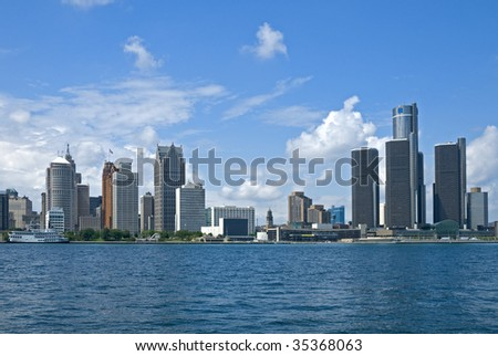 Downtown Detroit seen across the Detroit River from Windsor, Ontario, Canada.