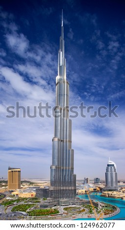 DOWNTOWN DUBAI, UAE - APRIL 17 - A skyline view showing the Burj Khalifa, the tallest skyscraper in the world, at 829.8 m and the 63-storey, 302.2 m Address Hotel.   on April 17, 2010.