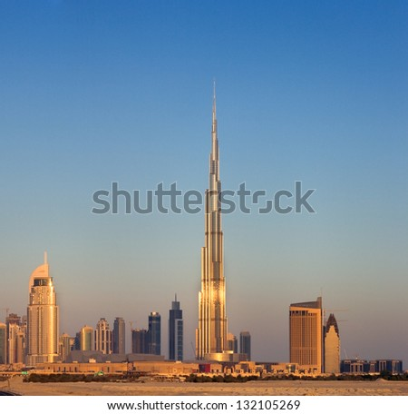 DOWNTOWN DUBAI, UAE - MAY 7: A skyline view at Dawn on May 7, 2010 in Dubai, UAE. Burj Khalifa, the tallest skyscraper in the world, 829.8 m, Construction began in 2004