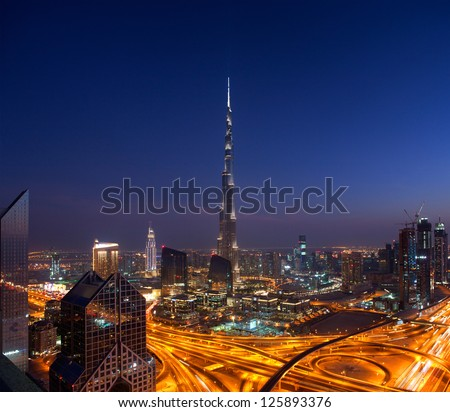 DOWNTOWN DUBAI, UAE - NOVEMBER 2: Burj Khalifa, the tallest skyscraper in the world standing at 829.8m in Dubai on Nov. 2, 2011. Construction began in 2004 and officially opened in 2010.