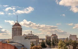 Downtown Fresno Skyline, California, USA, on a spring afternoon.