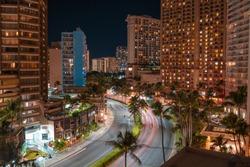 Downtown Honolulu city night long exposure
