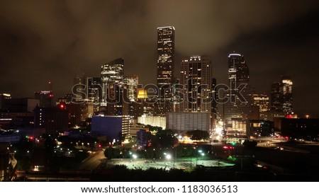 Downtown Houston Night time city skyline