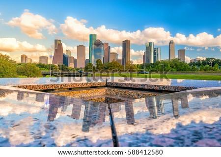 Downtown Houston skyline in Texas USA with bluesky