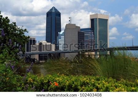 Downtown Jacksonville Florida along the riverwalk - stock photo