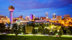 Downtown Knoxville, Tennessee city skyline and city lights at night
