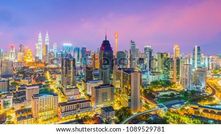 Downtown Kuala Lumpur skyline at twilight in Malaysia #1089529781