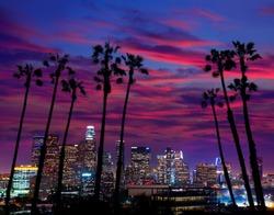 Downtown LA night Los Angeles sunset colorful skyline California [photo illustration]