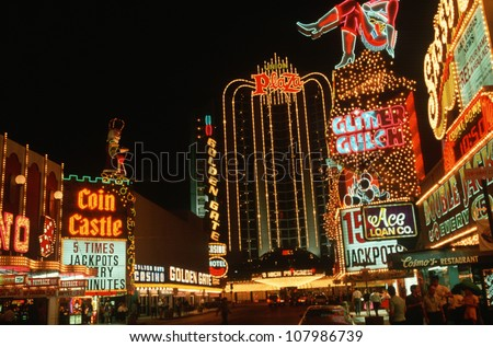 Downtown Las Vegas, Nevada at night