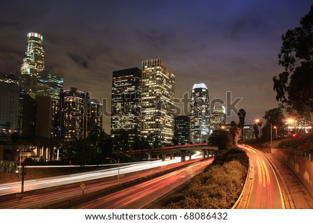 Downtown Los Angeles at Dusk, view from bridge 3th street. - stock photo