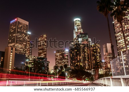 DOWNTOWN, LOS ANGELES, CALIFORNIA, USA  : Long exposure cars lights in Downtown street