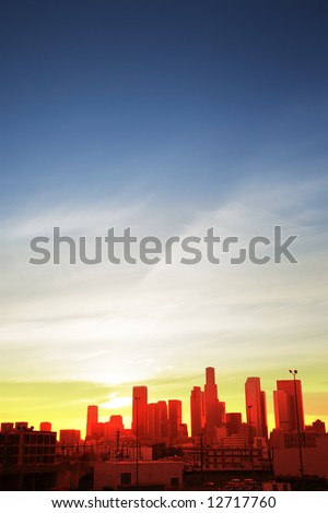 Downtown Los Angeles cityscape at sunset