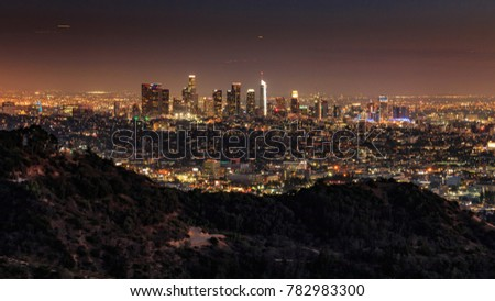 Downtown Los Angeles from Hollywood hills #782983300