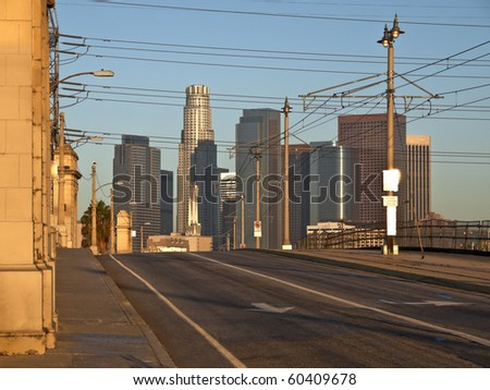 Downtown Los Angeles in warm sunrise light.