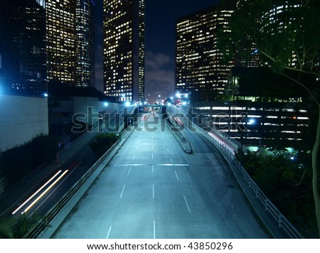 Downtown Los Angeles. Modern city street, late at night.