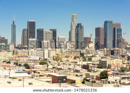 Downtown Los Angeles skyscrapers skyline at sunny day Stock photo ©