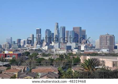 Downtown Los Angeles with lowrise housing - daytime view from the East