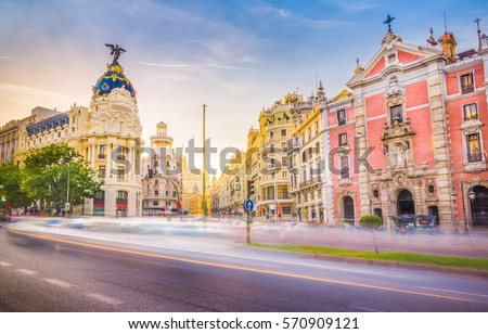 Shutterstock Downtown Madrid, Spain, where the Calle de Alcala meets the Gran Via. These are some of the most famous and busy streets in Madrid.