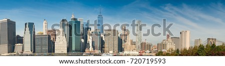 Downtown Manhattan over East river. #720719593