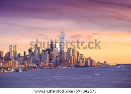 Downtown Manhattan skyline at sunset New York City #599342573