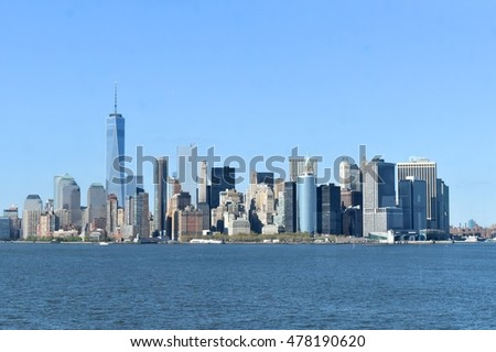 Downtown Manhattan view from the river #478190620