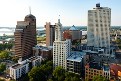 Downtown Memphis Tennessee Skyline at Sunset | Aerial View