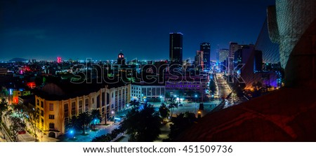 Shutterstock Downtown Mexico City skyline at night from top of the revolution monument
