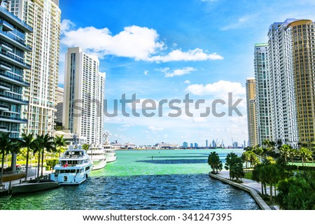 Downtown Miami along the Miami River inlet with Brickell Key in the background